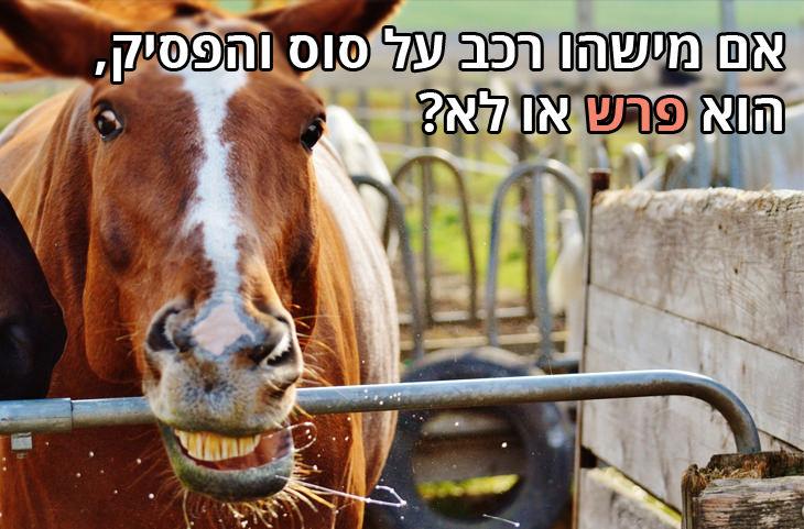 חידודי לצון: אם מישהו רכב על סוס והפסיק, הוא פרש או לא?