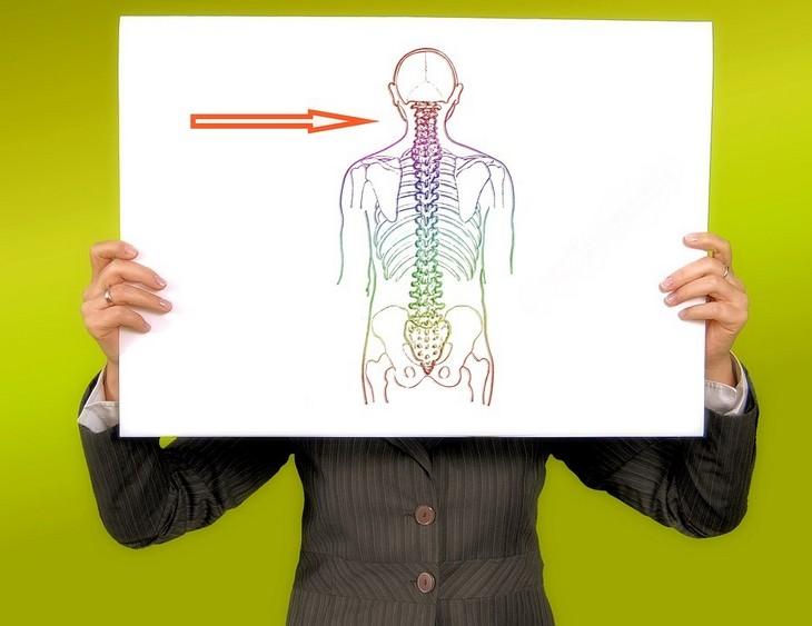 איש מחזיק מול גופו איור של גוף אדם עם חץ שמורה לצוואר