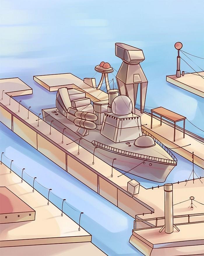 אוניית קרב ברציף