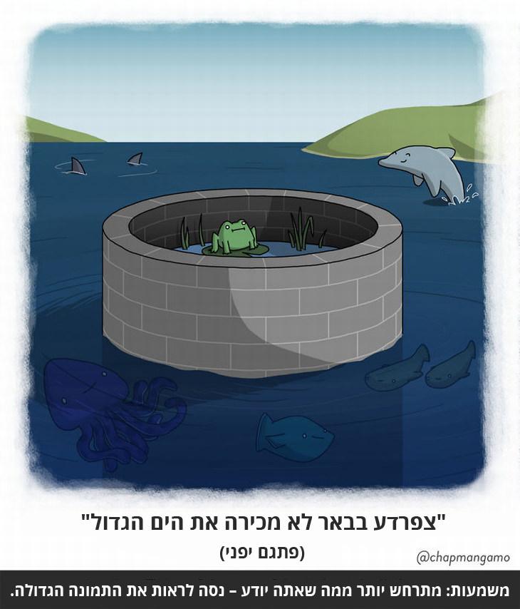 """""""צפרדע בבאר לא יודעת את הים הגדול"""" (פתגם יפני) משמעות: מתרחש יותר ממה שאתה יודע – נסה לראות את התמונה הגדולה."""