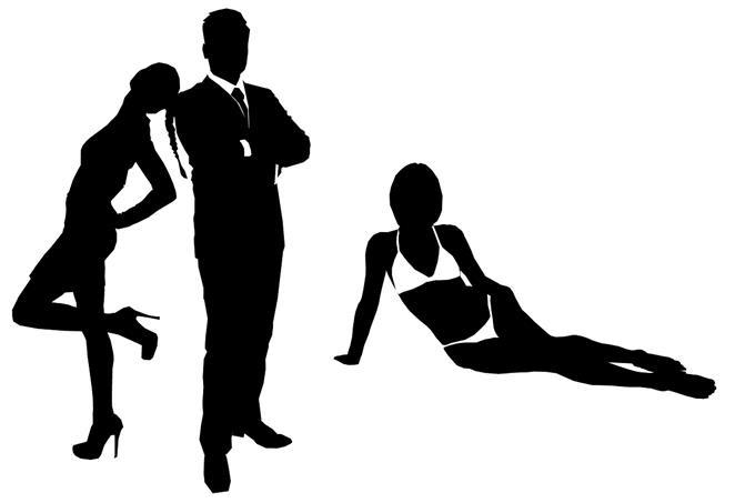 איור של איש בחליפה לצד נשים