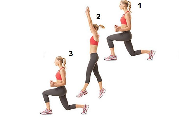 תרגילים לחיטוב פלג הגוף התחתון: כריעות עם קפיצות בחילופי רגליים