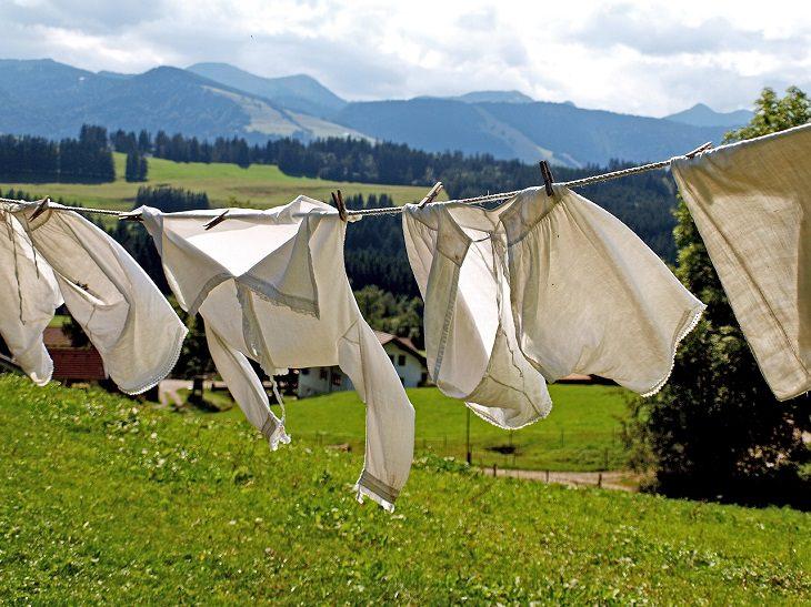 הסרת כתמים שומניים: בגדים על חבל כביסה