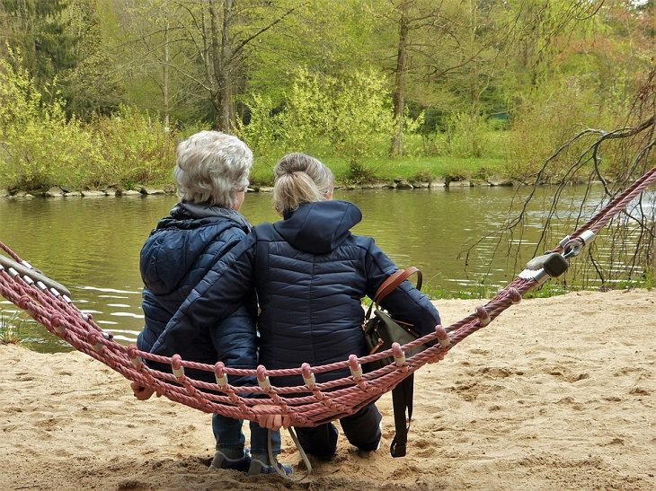 2 נשים יושבות בגבן למצלמה, על ערסל ליד אגם