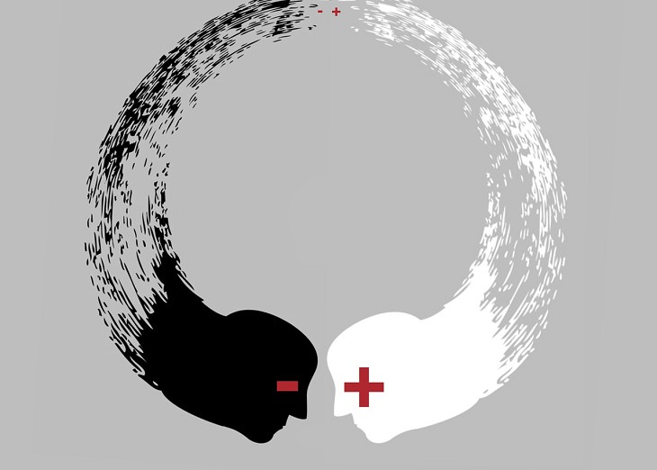 איור: שני פרצופים, פלוס ומינוס, מתנגשים
