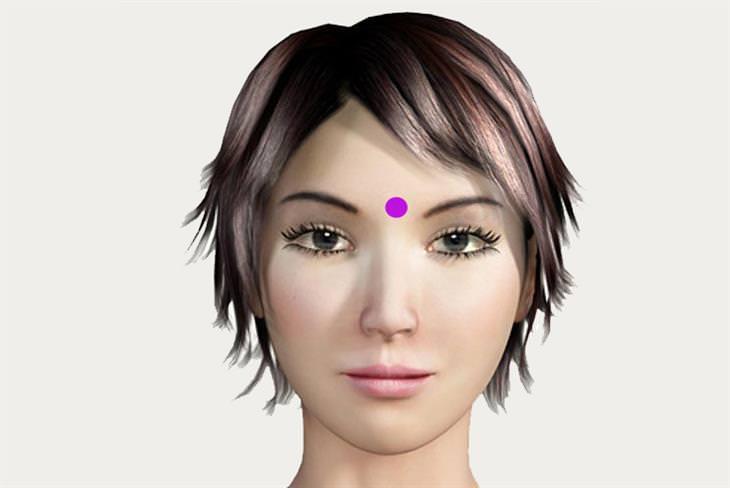 נקודות לחיצה לשיפור הראייה: נקודת לחיצה העין השלישית