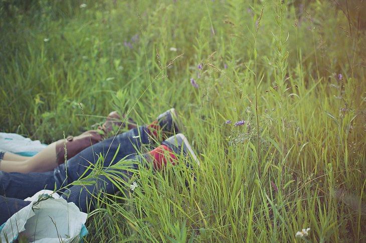 זוג שוכב על הדשא