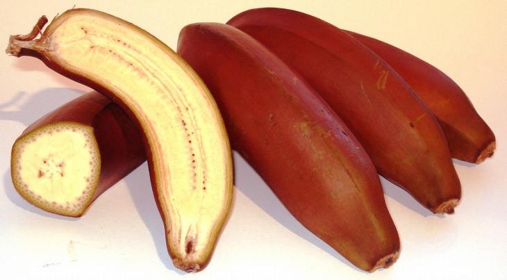 אשכול בננות אדומות, שכמה מהן חתוכות