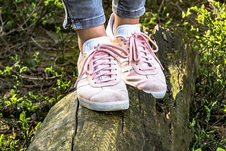 רגליים צועדות על בול עץ