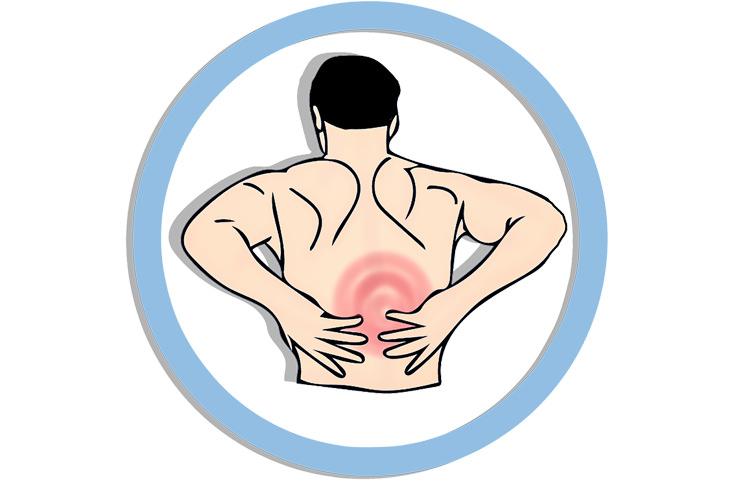 נקודת לחיצה לטיפול בכאבי גב: איור של אדם שסובל מכאב גב
