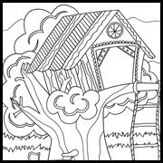 דפי צביעה: בית על העץ