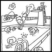 דפי צביעה: ילד קופץ לבריכה