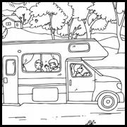 דפי צביעה: משפחה נוסעת בקרנוע