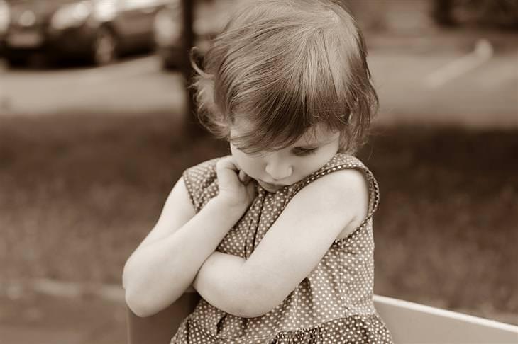 טיפים להורים של ילדים ביישנים ומופנמים: ילדה שמשלבת ידיים ומרכינה את ראשה