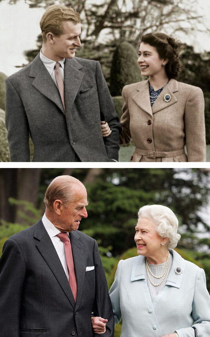 תמונות נדירות של אישים מההיסטוריה: מלכת אנגליה אליזבת השנייה והנסיך פיליפ בעלה, אז והיום