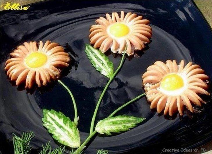 עיצוב מזון והצעות הגשה: נקניקיות עם ביצי עין בצורת פרח