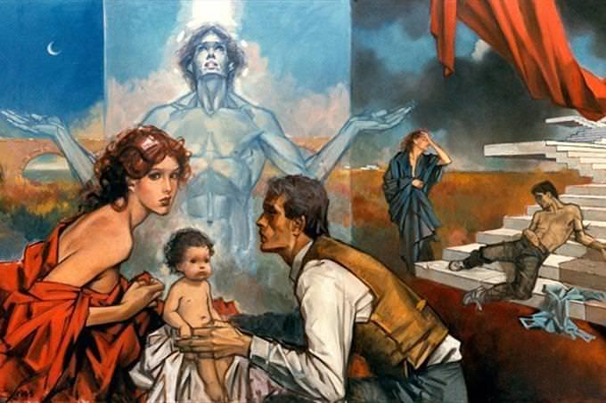 אב ואם מחזיקים בתינוק, ומאחוריהם אדם ערום מושיט את ידיו לצדדים ועליו נופל אור כחול. מאחוריו גבר זרוק על מדרגות ואישה מתייפחת