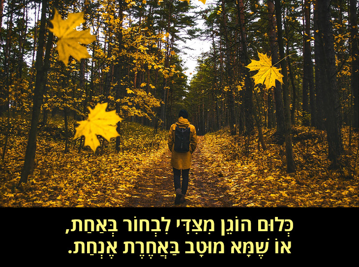 הדרך שלא נבחרה: כְּלוּם הוֹגֵן מִצִּדִּי לִבְחוֹר בְּאַחַת, אוֹ שֶׁמָּא מוּטָב בַּאֲחֶרֶת אֶנְחַת.