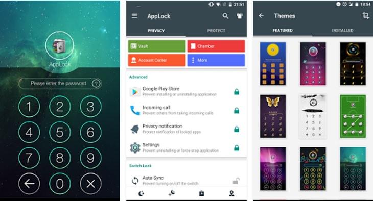 אפליקציות חינמיות להסתרת מידע: צילומי מסך של אפליקציות AppLock ו-App Locker