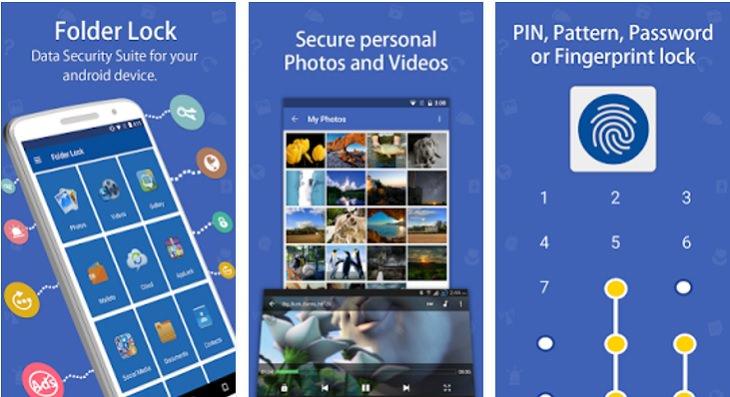 אפליקציות חינמיות להסתרת מידע: צילומי מסך של אפליקציית Folder Lock