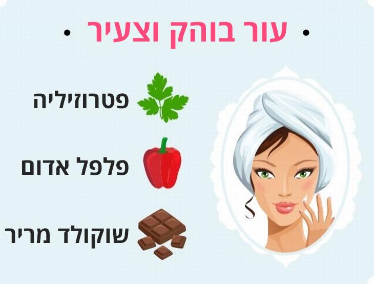 מזונות שעוזרים לשמור על כל חלקי הגוף: עור בוהק וצעיר - פטרוזיליה, פלפל אדום ושוקולד מריר