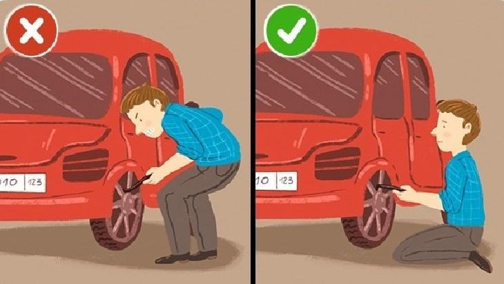 כיצד למנוע נזק לעמוד השדרה: איור של אדם מתכופף בזמן החלפת גלגל לרכב לעומת אדם שיושב על הברכיים