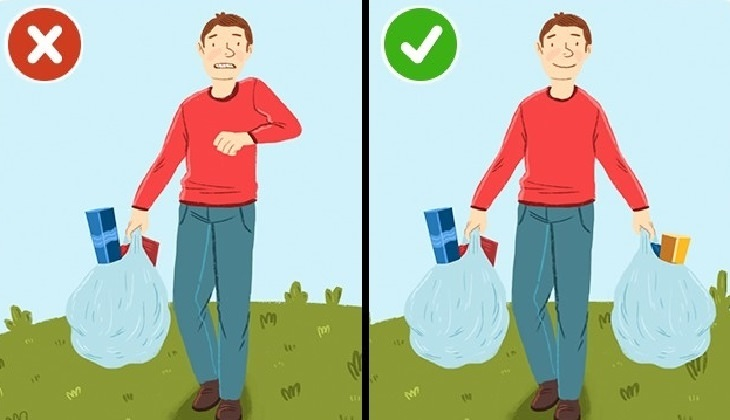 כיצד למנוע נזק לעמוד השדרה: איור של אדם סוחב שקית כבדה ביד אחת, לעומת אדם שסוחב שקניות בשתי ידיו