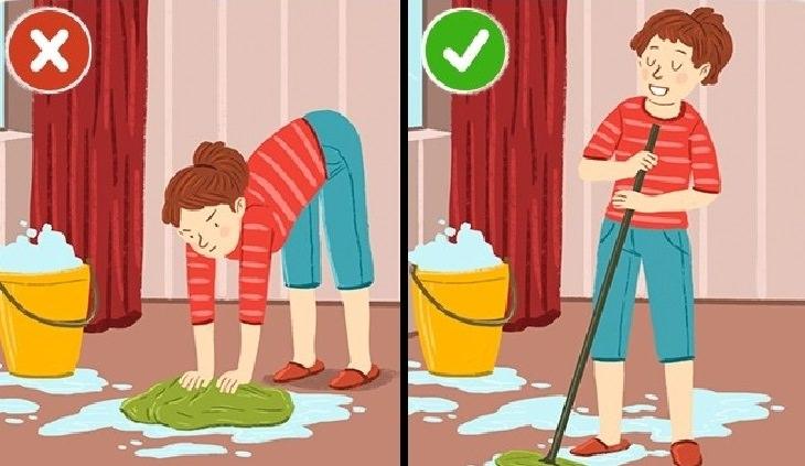 כיצד למנוע נזק לעמוד השדרה: איור של אישה מתכופפת בזמן שהיא שוטפת רצפה לעומת אישה ששומרת על גב ישר ויציב