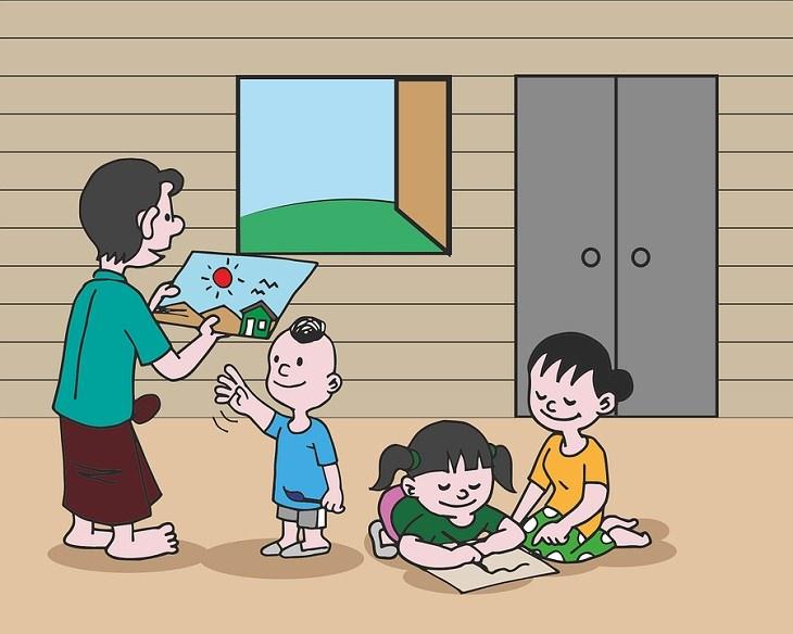 שקרים שהורים מספרים לילדים: איור של ילדים מציירים וילד מעניק ציור שהכין לאימא שלו