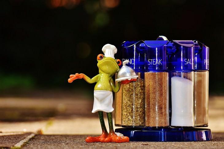 איך לבחור תבלינים טריים ואמיתיים: בובה של שף צפרדע עומדת ליד מתקן תבלינים