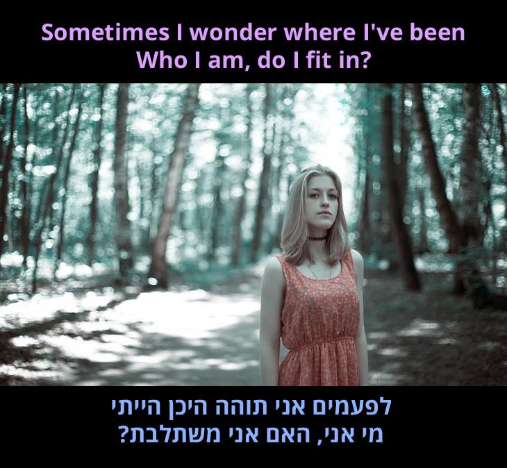 """מצגת לשיר """"לבדי"""" בביצוע של ניקה קוסטה: לפעמים אני תוהה היכן הייתי - מי אני, האם אני משתלבת?"""