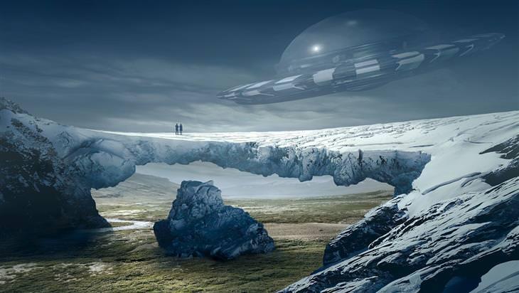 אירועים חינמיים בליל המדענים 2017: שני אנשים עומדים על גשר-צוק סלעי ומעליהם חללית
