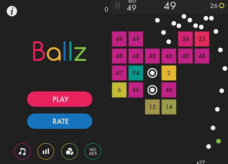 אפליקציות משחקים מומלצות: צילומי מסך מתוך Ballz