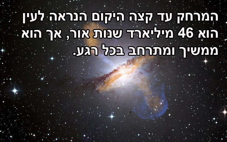 עובדות מרתקות על היקום: מהו אורכו של היקום? המרחק עד קצה היקום הנראה לעין הוא 46 מיליארד שנות אור, אך הוא ממשיך ומתרחב בכל רגע.