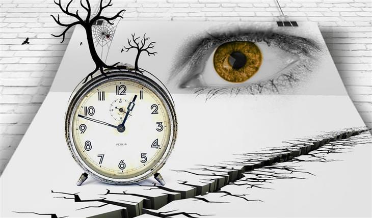 מה השעה שבה אתם מתעוררים אומרת על הנפש שלכם: איור של שעון מעורר על דף שעליו מצוירים בקע באדמה ועין