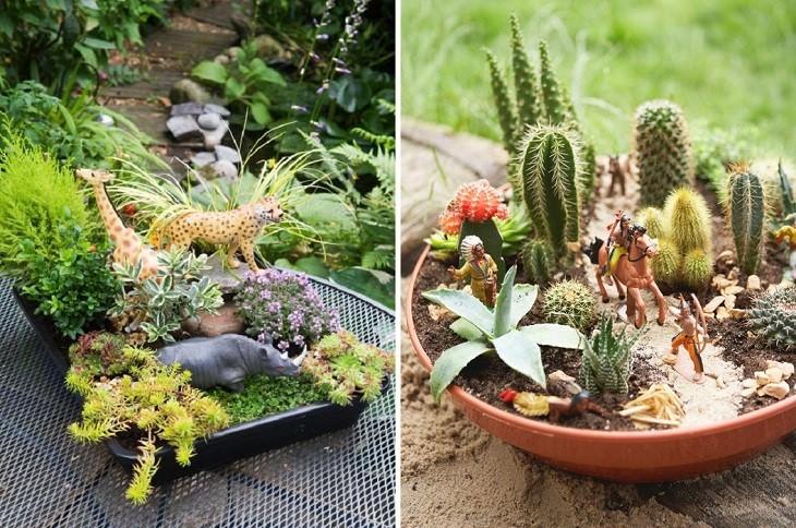 פעילויות גינה לילדים: אדניות עם צמחים ובובות של בוקרים ודינוזאורים