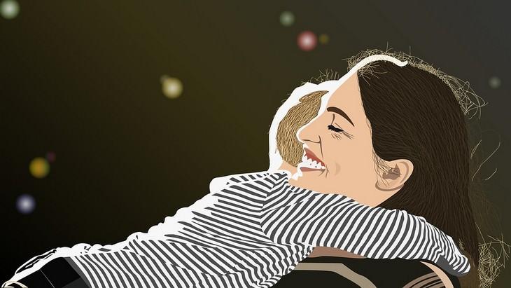 איך לספר לילדים על גירושים: איור של אם מחבקת את בנה
