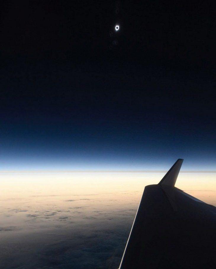 תמונות נדירות: ליקוי חמה מתועד ממטוס