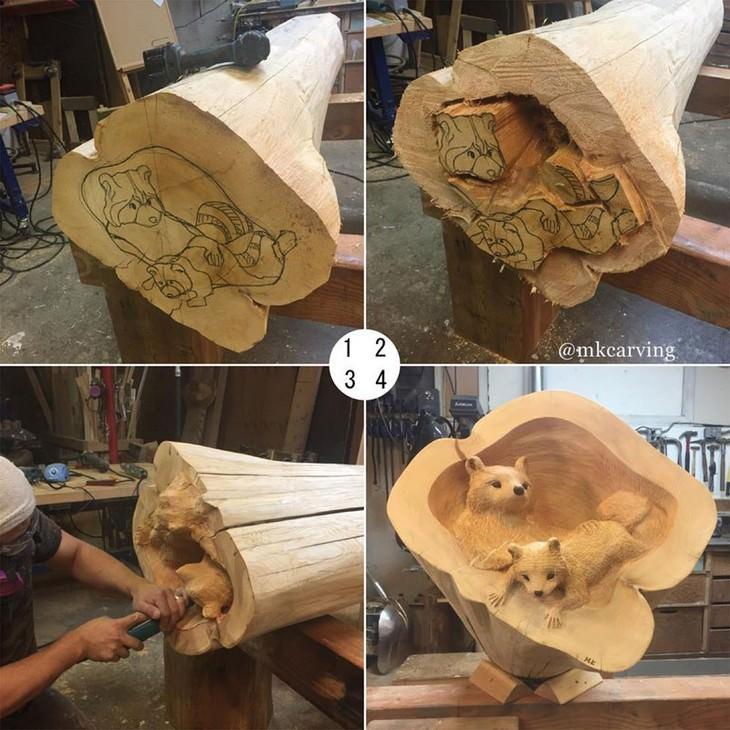 פסלים שמגולפים מעץ: שלבי גילוף גורי דובים