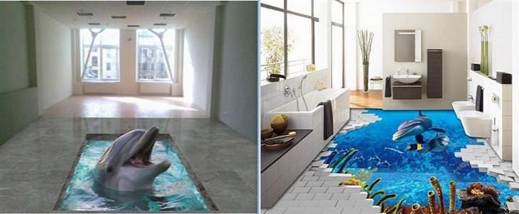 רצפה אומנותית: דולפינים