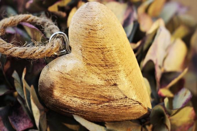 מבחן אישיות - מניע: לב מגולף מעץ על עלים