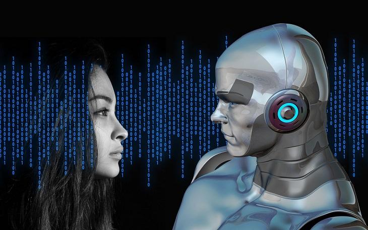 מהי בינה מלאכותית: איור של פני אישה ופני רובוט מתבוננים זה בזה