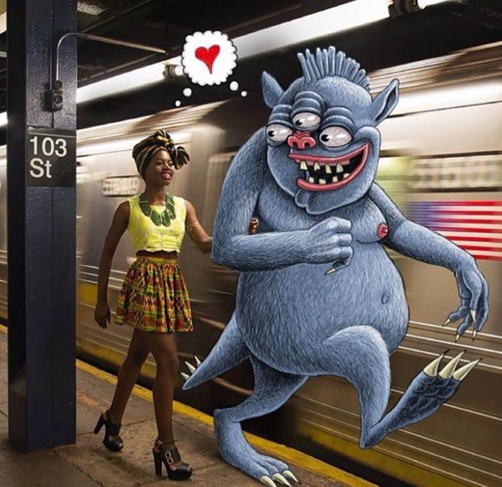 איורי מפלצות ברכבת: אישה הולכת יד ביד עם מפלצת