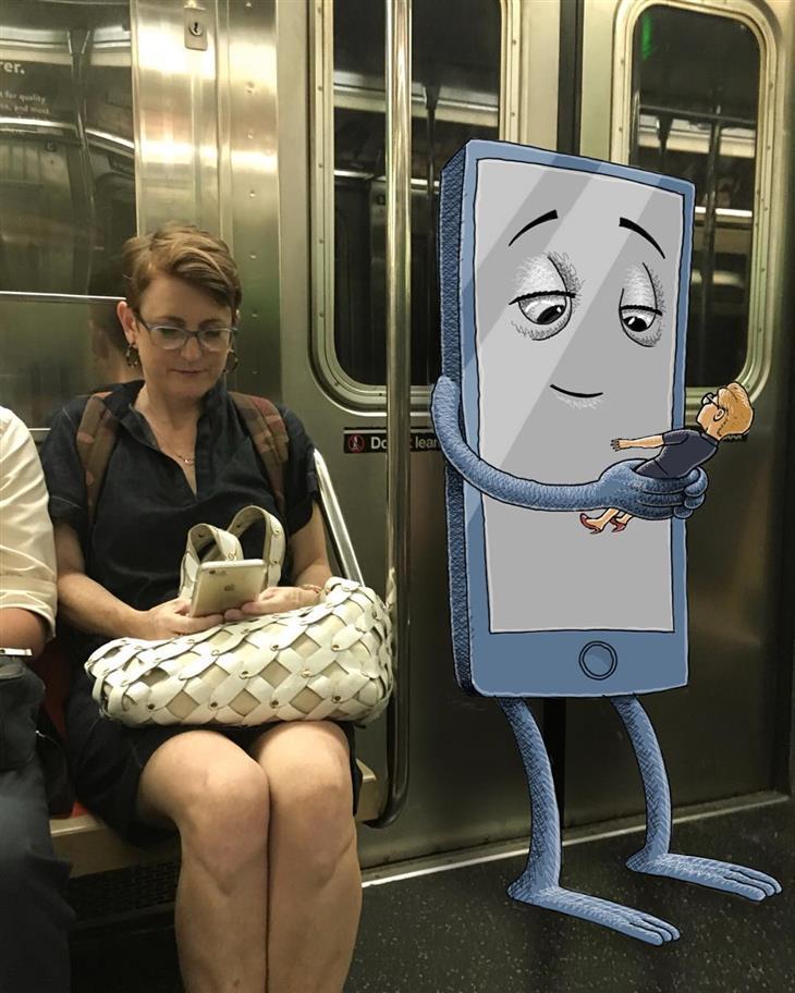 איורי מפלצות ברכבת: סמארטפון משתמש בבן אדם