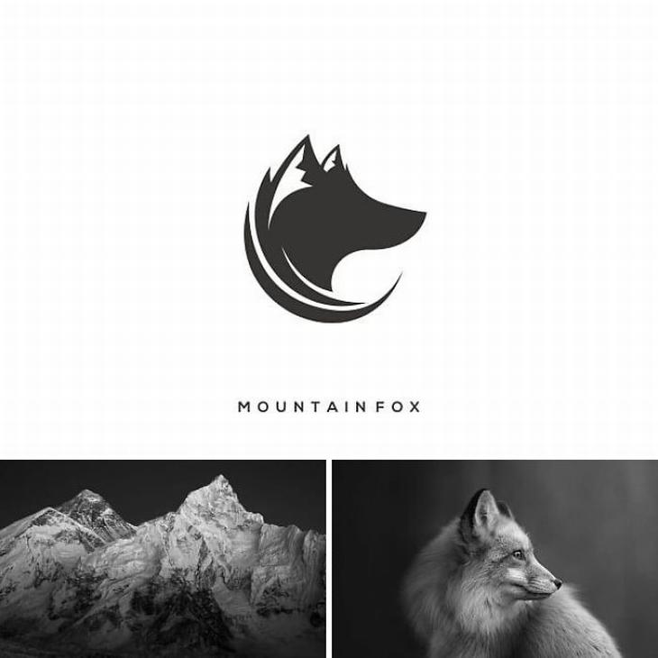 עיצובי לוגו מתוחכמים: שילוב של הר ושועל