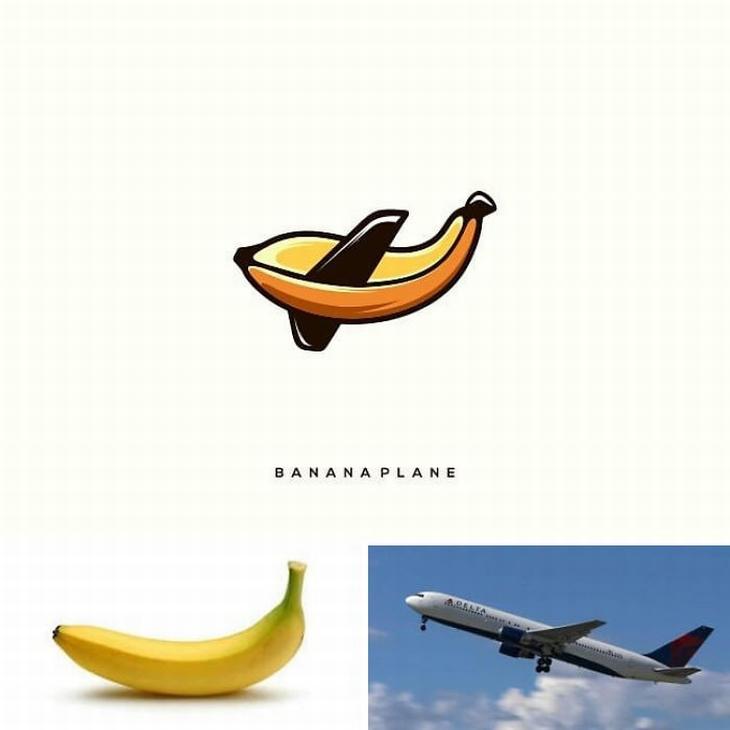 עיצובי לוגו מתוחכמים: שילוב של מטוס ובננה