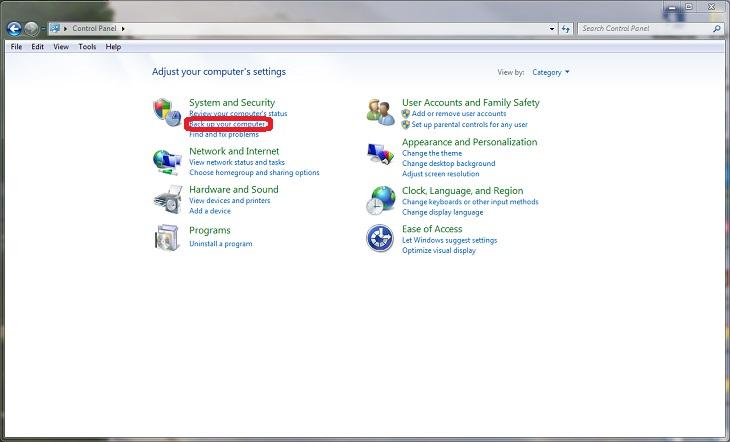מדריך לגיבוי ושחזור במחשב: צילום מסך של לוח הבקרה