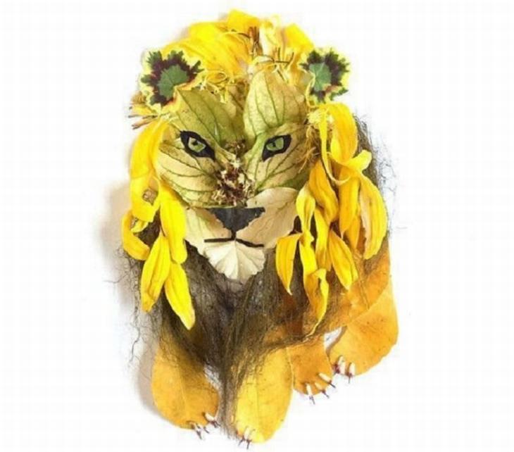 יצירות אומנות שעשויות מפרחים: אריה