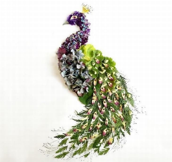יצירות אומנות שעשויות מפרחים: טווס