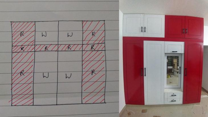 נתנו לך משימה אחת פשוטה: שרטוט של ארון בצבע לבן ואדום, ולצדו התוצאה הסופית, שאינה זהה